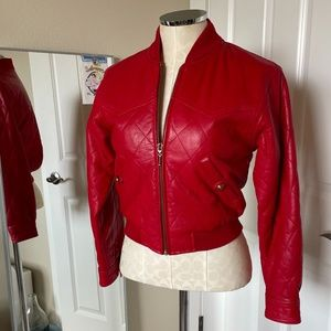 Vintage Red Leather 80s Cropped Quilted Jacket